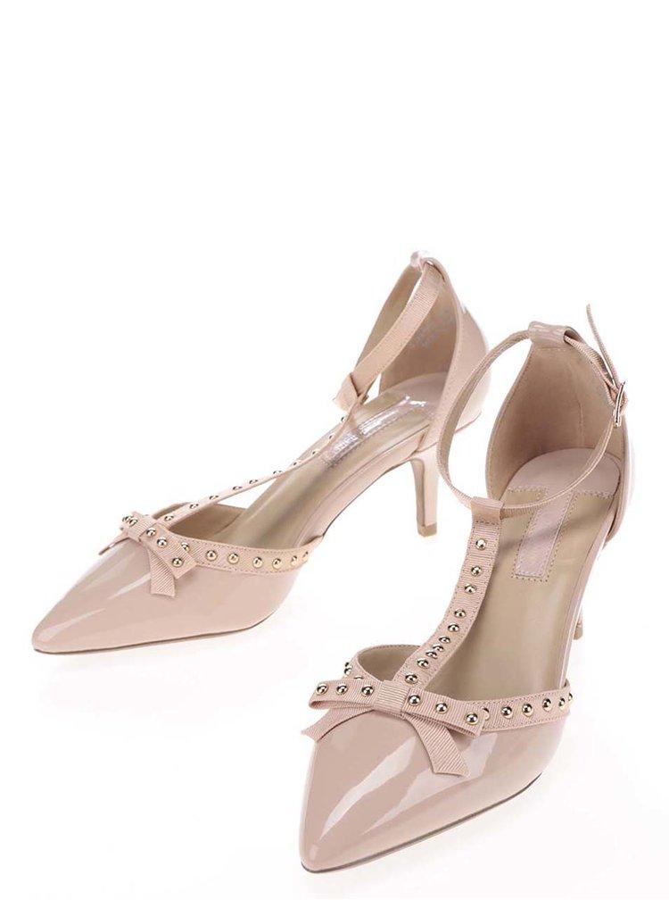 Pantofi bej  Dorothy Perkins cu baretă încrucișată pe gleznă