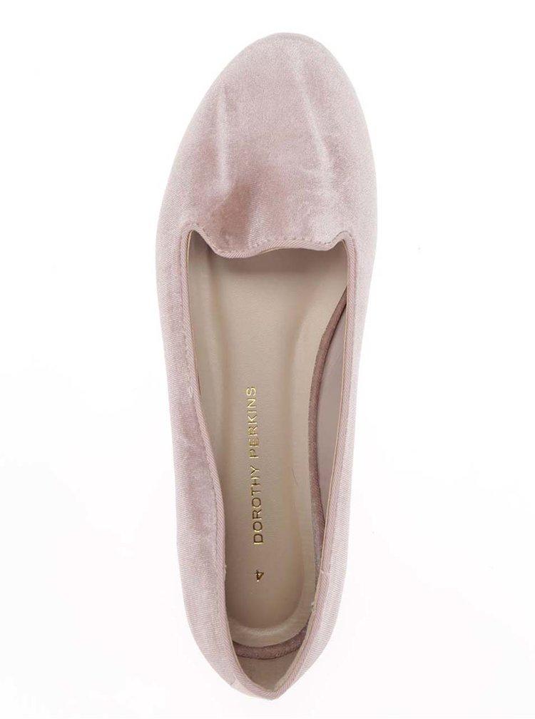 Světle růžové baleríny v semišové úpravě Dorothy Perkins