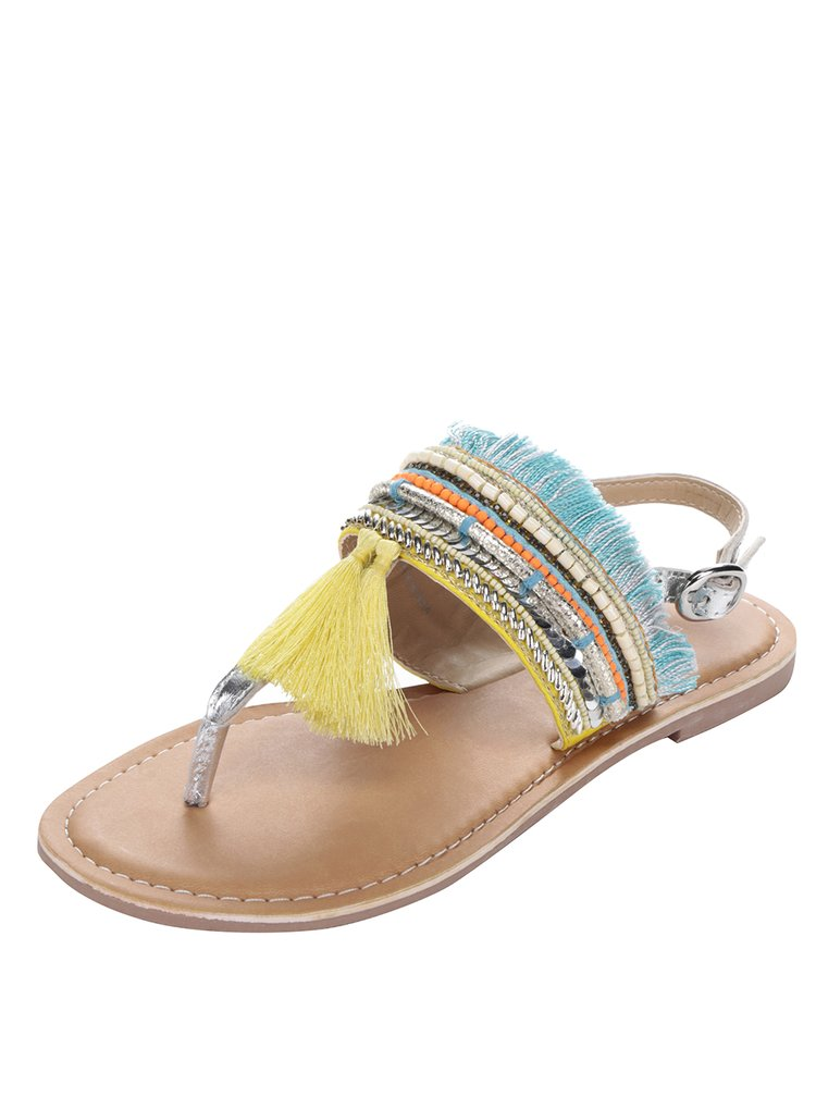 Sandale galbene Dorothy Perkins cu franjuri multicolore