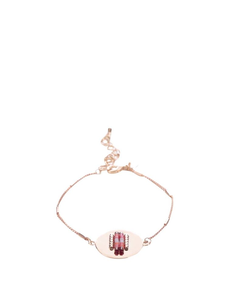 Náramek ve růžovozlaté barvě s fialovými korálky Mariesy