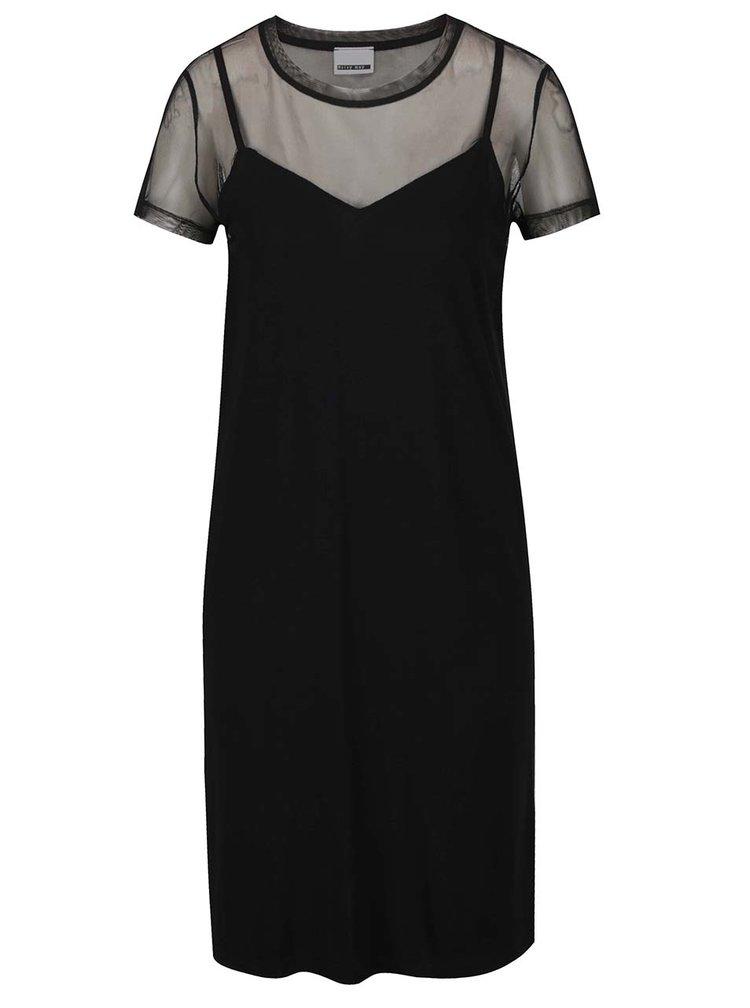 Černé volné šaty s všitým průsvitným tričkem Noisy May Trinna