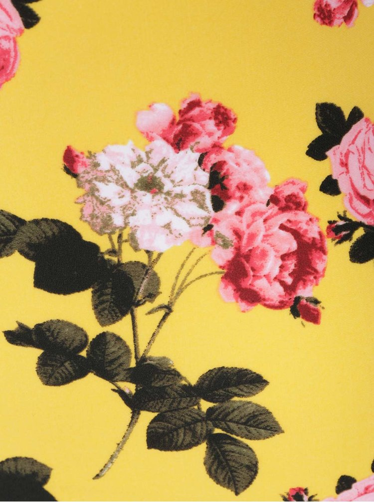Žluté jednodílné květované plavky s průstřihy a volány VERO MODA Carol
