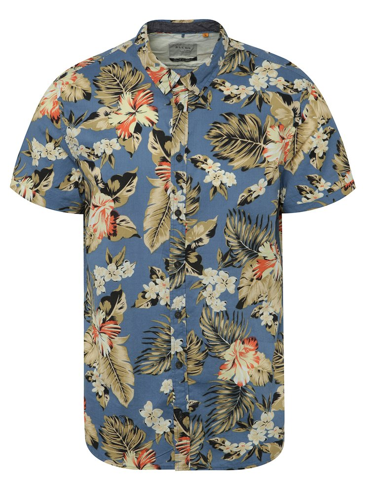 Camasa albastra cu maneci scurte Blend si model floral