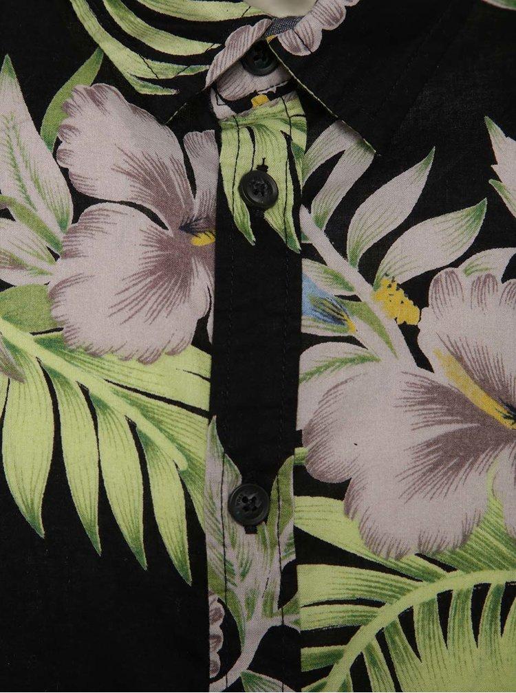 Camasa neagra cu maneci scurte Blend si model floral