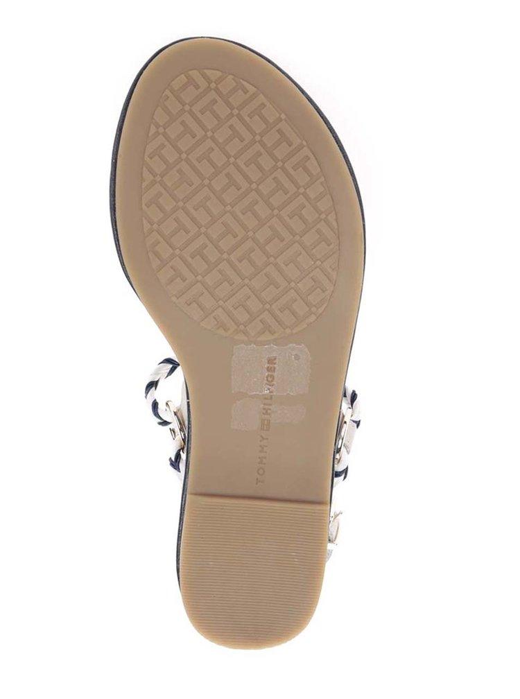 Modro-krémové dámské kožené sandály Tommy Hilfiger