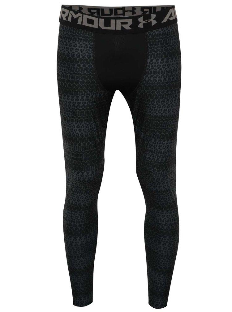 Colanti negri cu print pentru barbati Under Armour HG Armour 2.0 Novelty Legging
