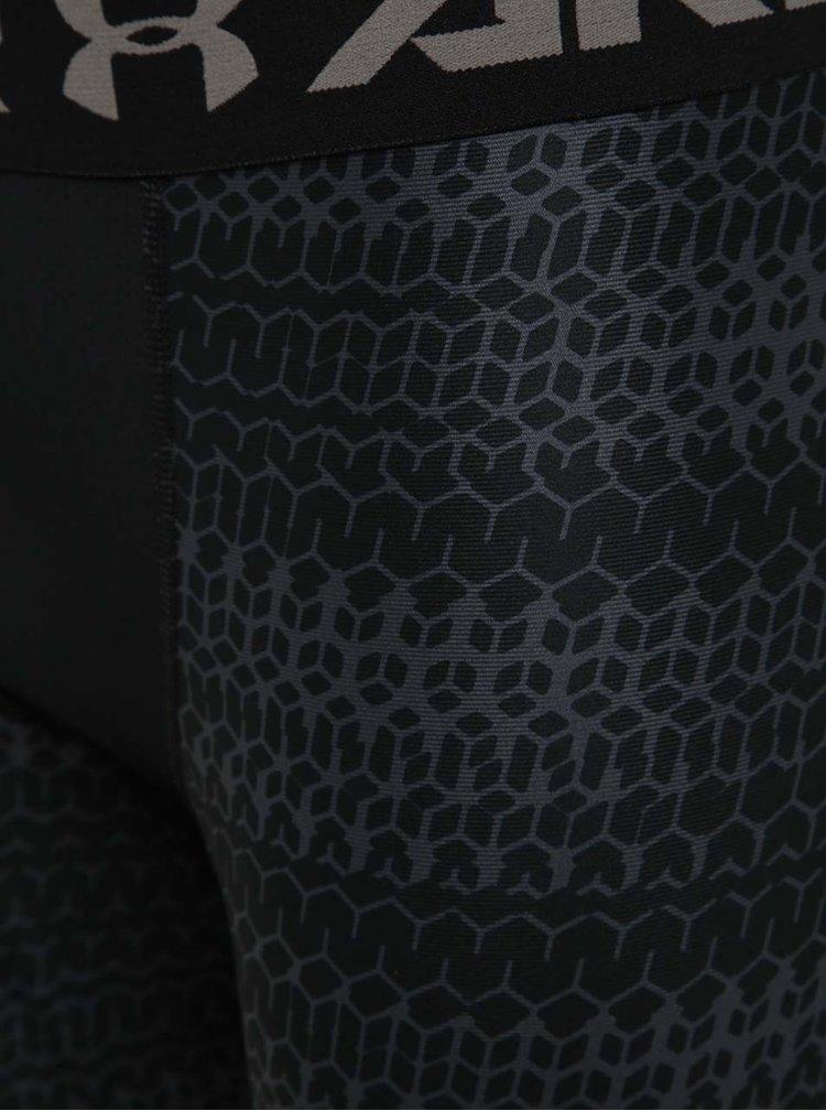 Šedo-černé pánské vzorované legíny Under Armour HG Armour 2.0 Novelty Legging