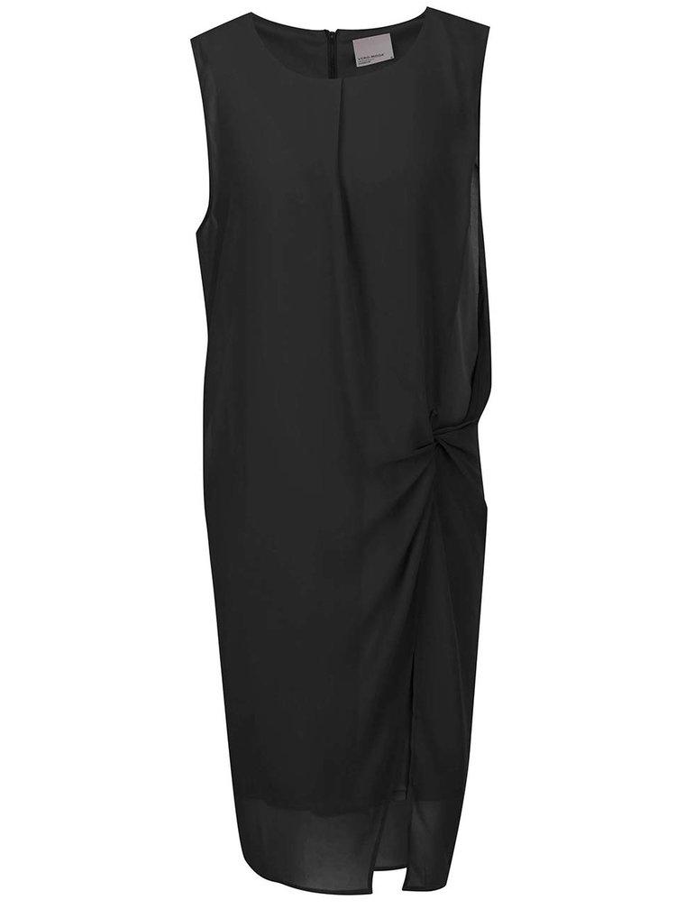 Černé volné šaty s uzlem na boku VERO MODA Bina