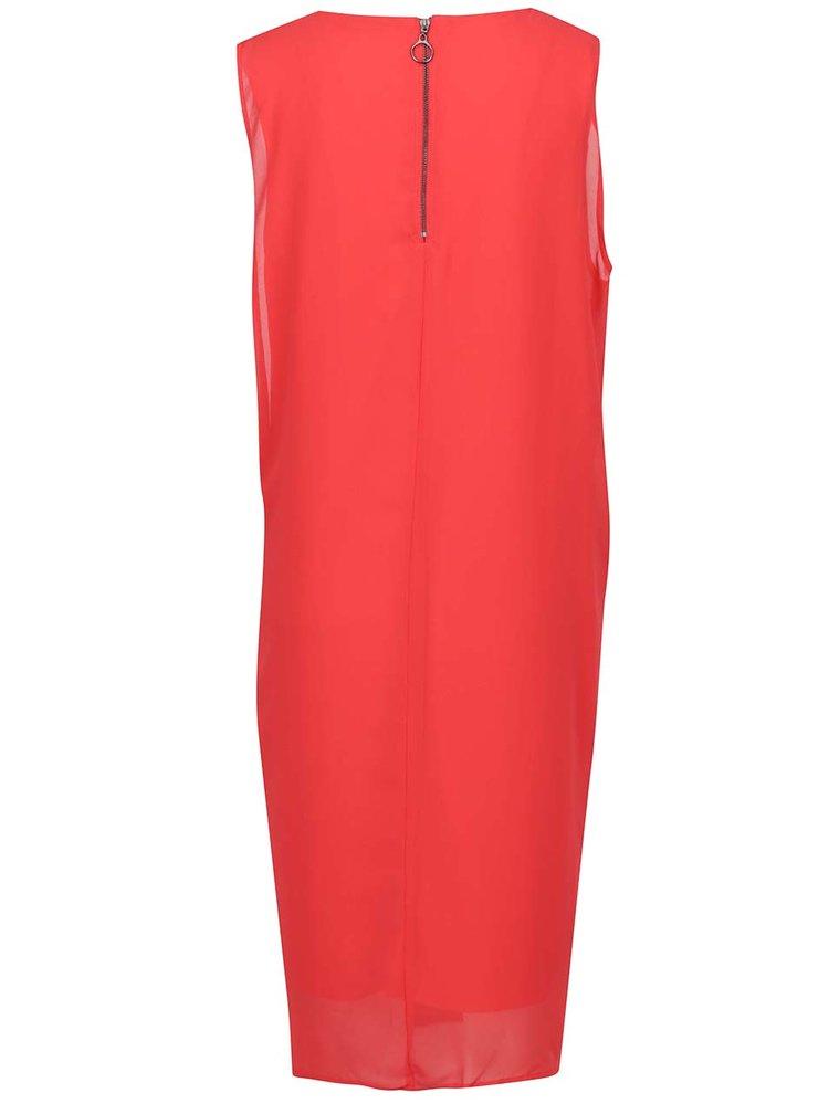 Červené volné šaty s uzlem na boku VERO MODA Bina