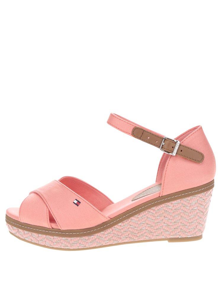 Korálové dámské sandály na klínku Tommy Hilfiger