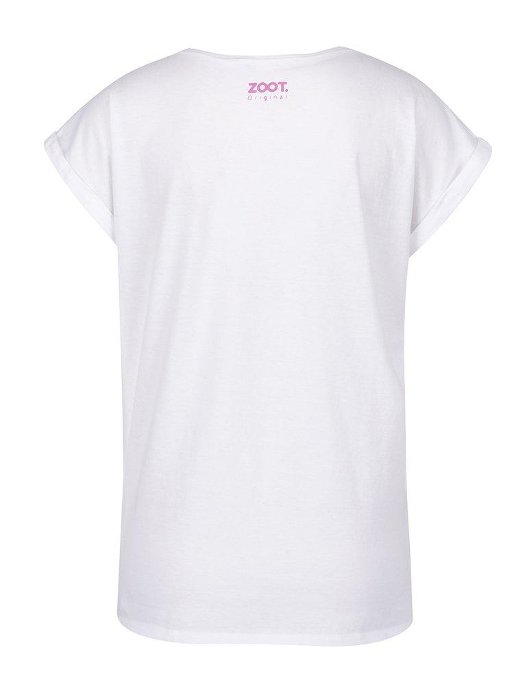 Tricou alb cu print pentru femei - ZOOT Original Mowie