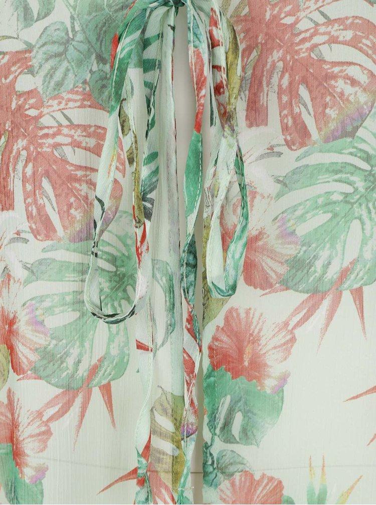 Světle zelené průsvitné kimono s motivem listů Yest