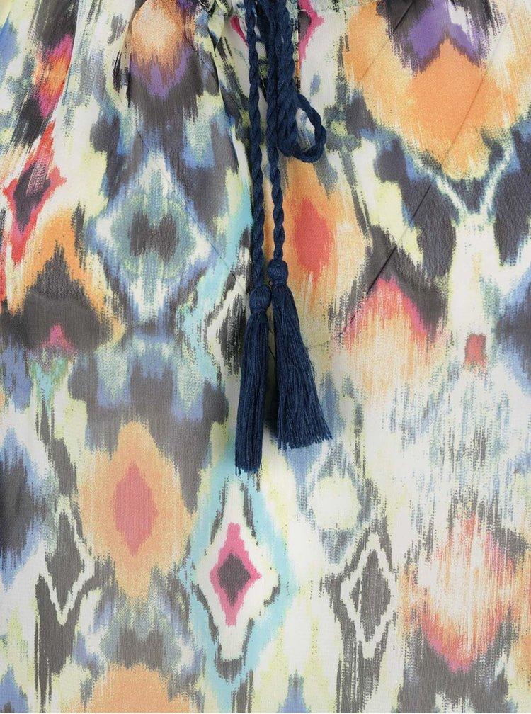 Modro-oranžová vzorovaná průsvitná halenka s průstřihy na ramenou Yest