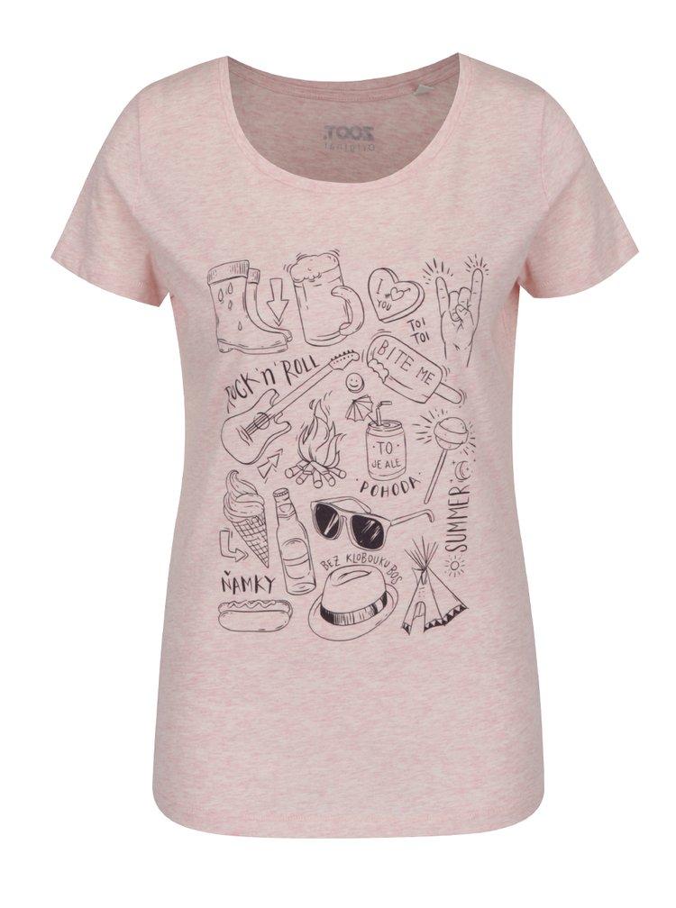 Růžové dámské tričko s potiskem ZOOT Originál