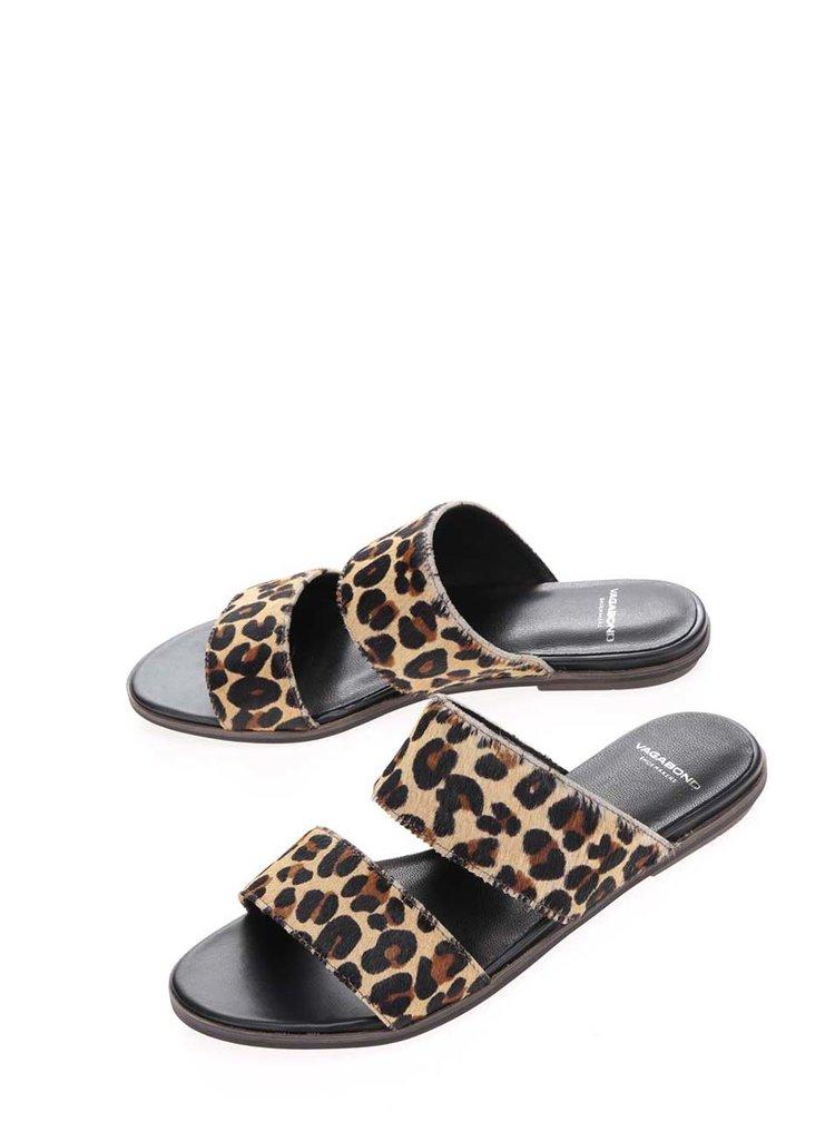 Papuci slide maro Vagabond Natalia  cu animal print