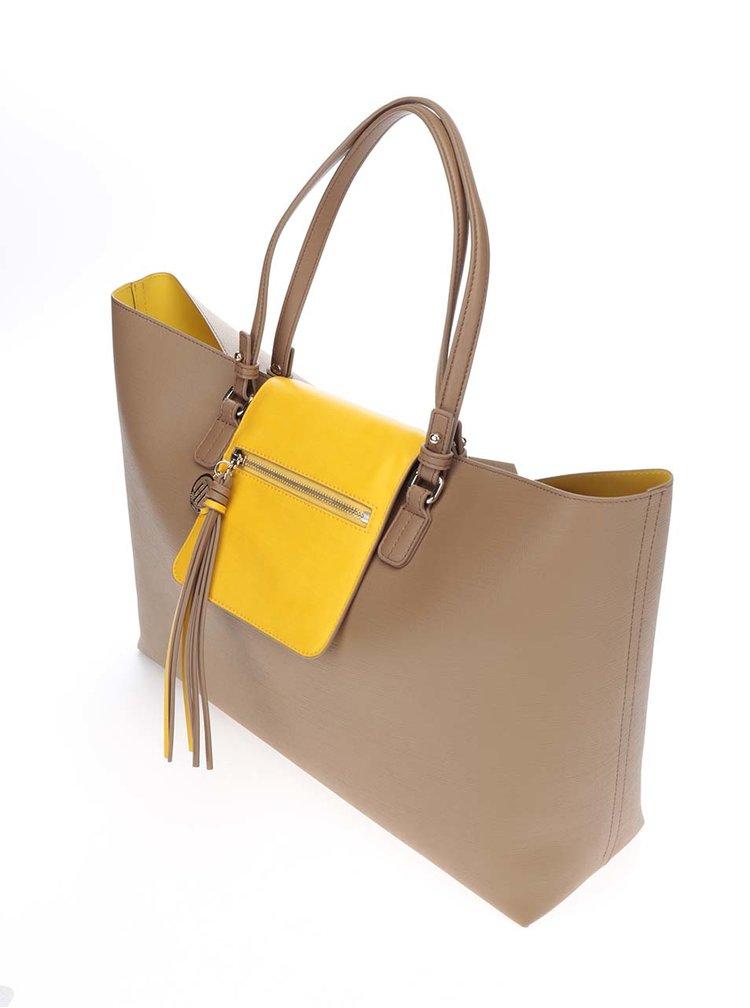 Žluto-hnědý oboustranný shopper Tommy Hilfiger