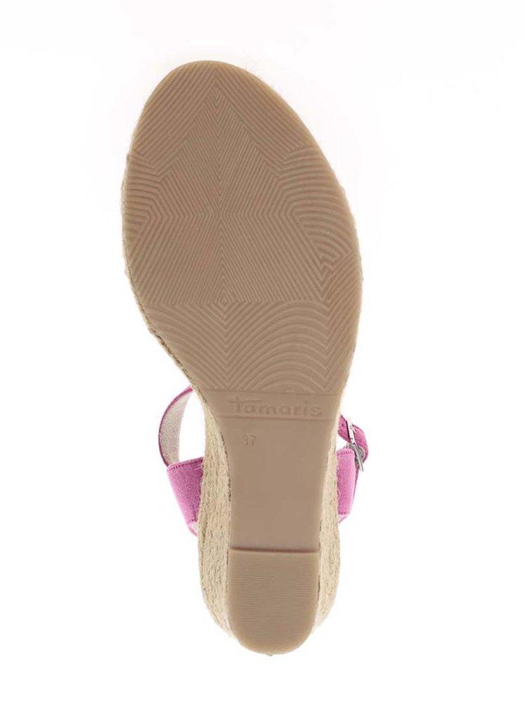 Růžové páskové sandály v semišové úpravě na klínku Tamaris