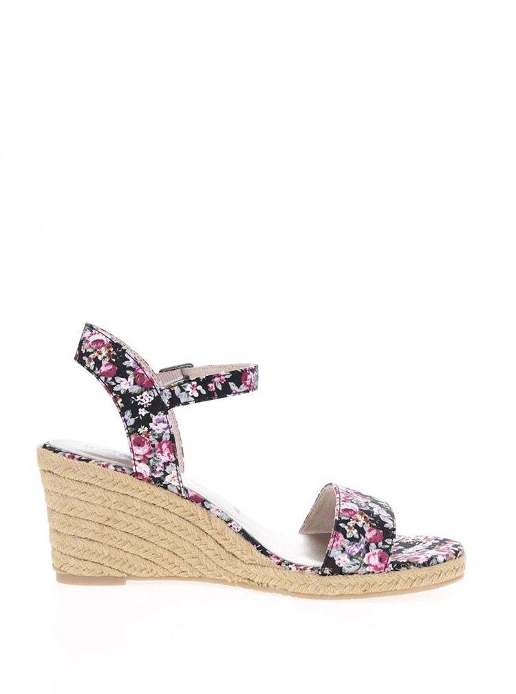 Sandale negre cu model floral și platformă din rafie Tamaris