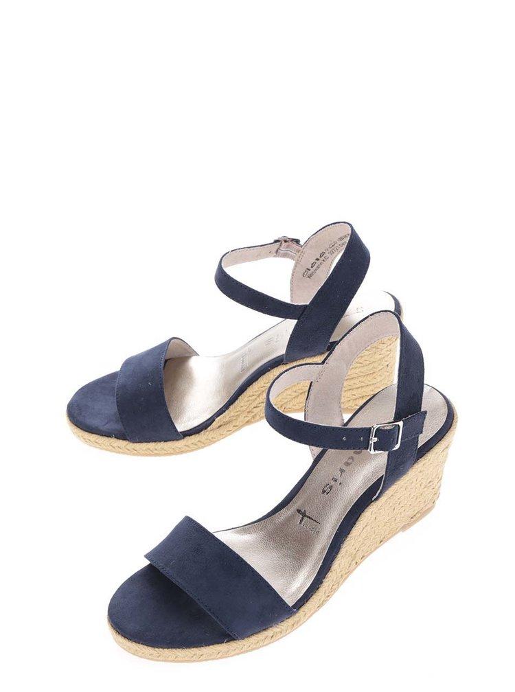 Tmavě modré páskové sandály v semišové úpravě na klínku Tamaris