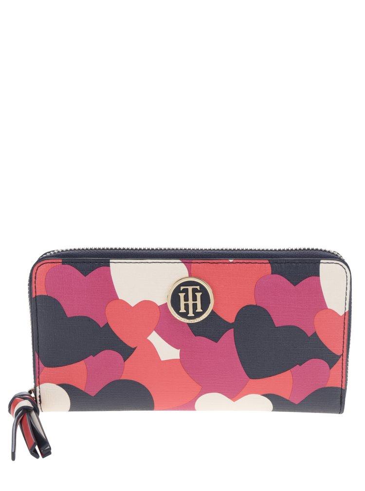 Modro-červená dámská peněženka s motivem srdcí Tommy Hilfiger