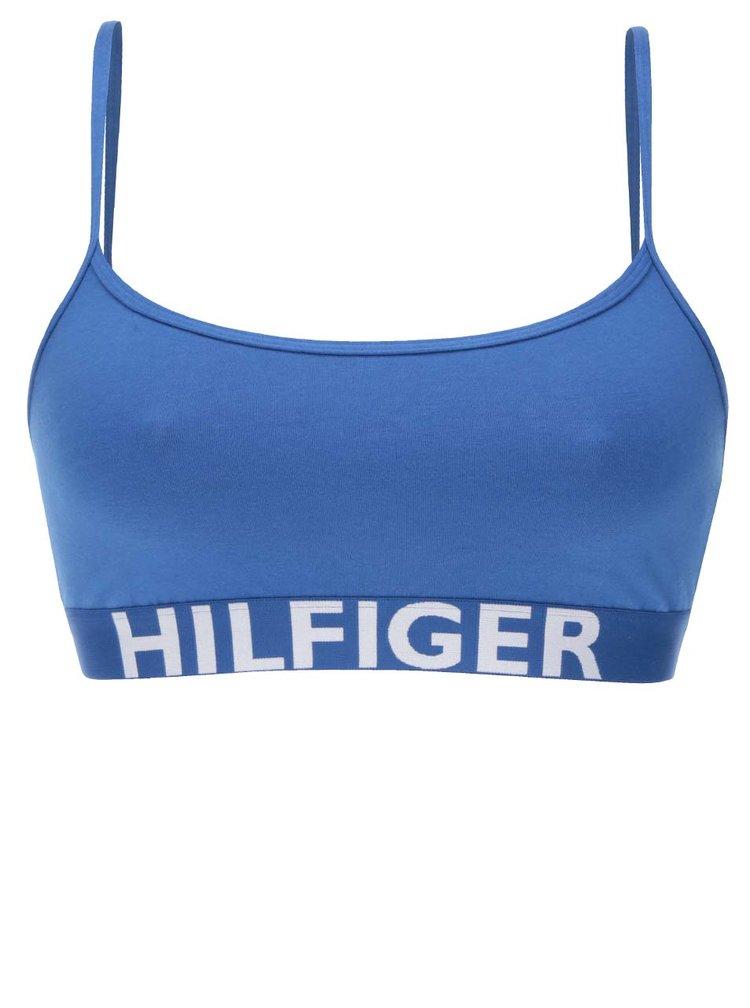 Bustiera albastra cu print logo Tommy Hilfiger