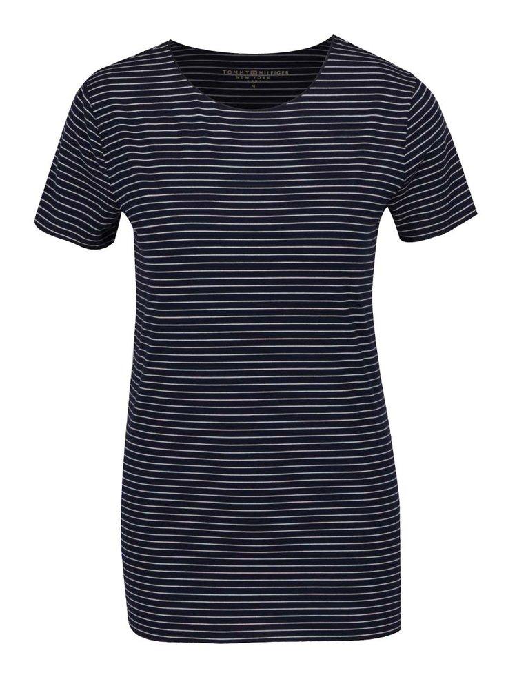 Tmavě modré dámské pruhované tričko s krátkým rukávem Tommy Hilfiger