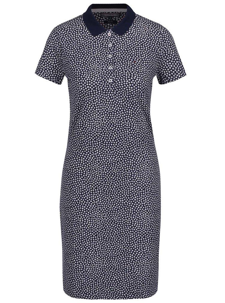 Krémovo-modré květované šaty s límečkem Tommy Hilfiger