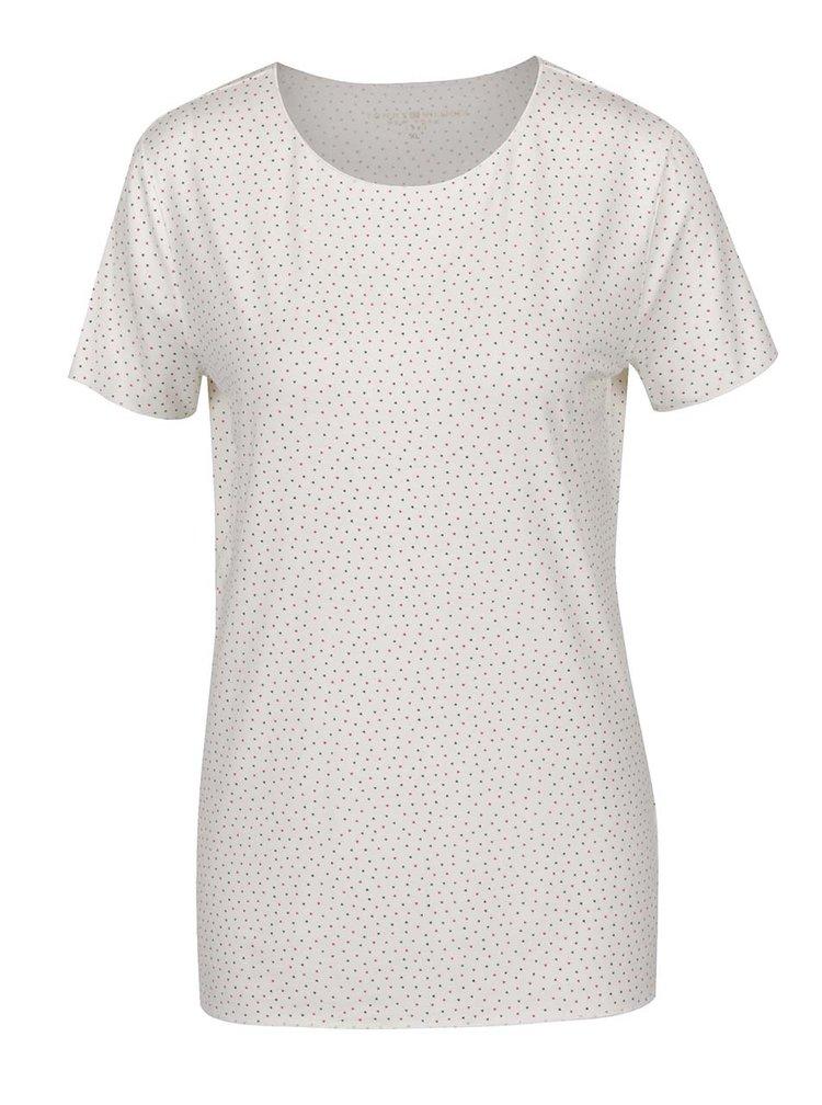 Krémové dámské vzorované tričko s krátkým rukávem Tommy Hilfiger