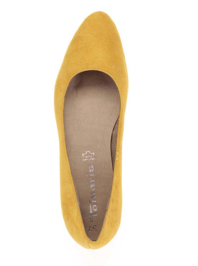 Žluté semišové baleríny Tamaris