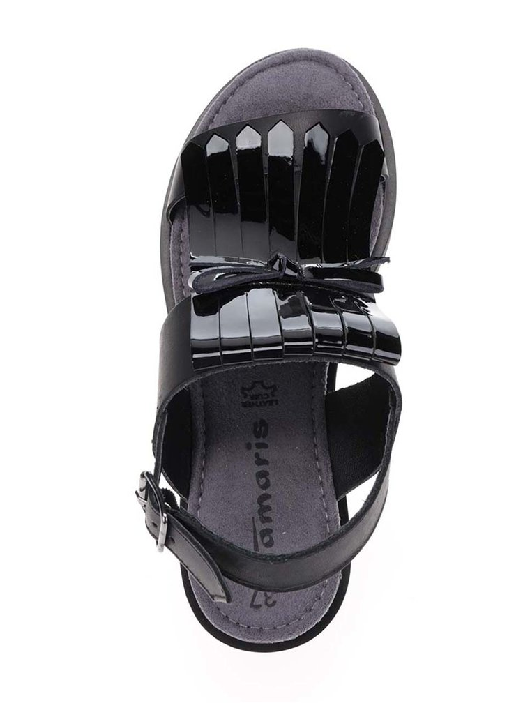 Černé kožené lesklé sandály na platformě Tamaris
