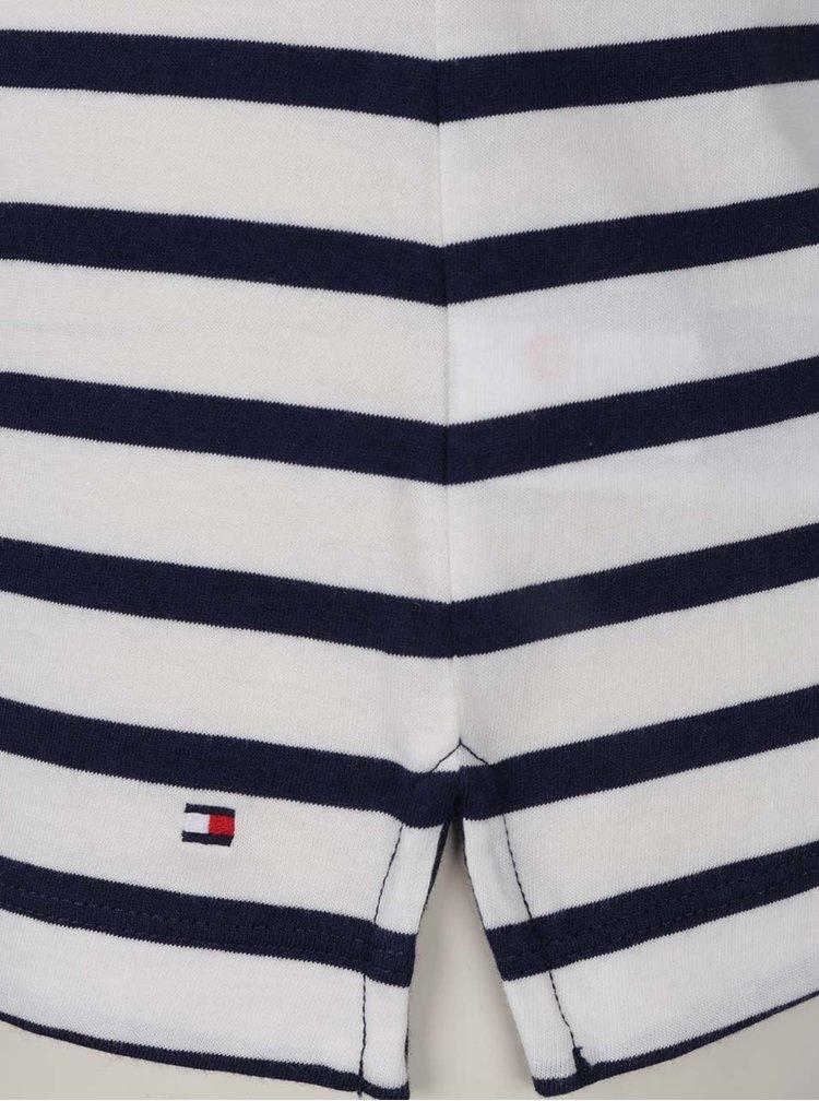 Modro-krémové dámské pruhované tričko s nášivkou Tommy Hilfiger