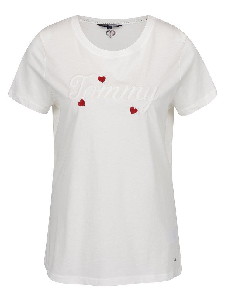 Krémové dámské tričko s výšivkou Tommy Hilfiger