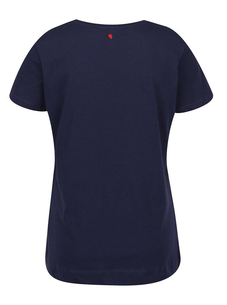 Tmavě modré dámské tričko s výšivkou Tommy Hilfiger