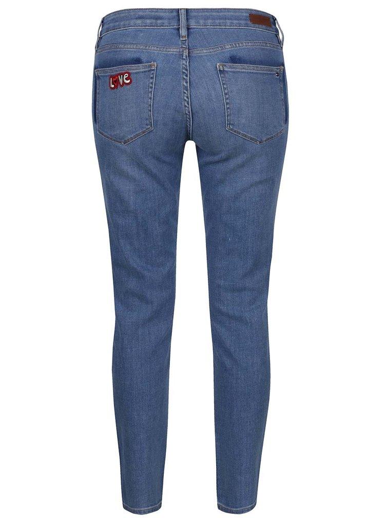 Modré dámské skinny fit džíny s nášivkami Tommy Hilfiger