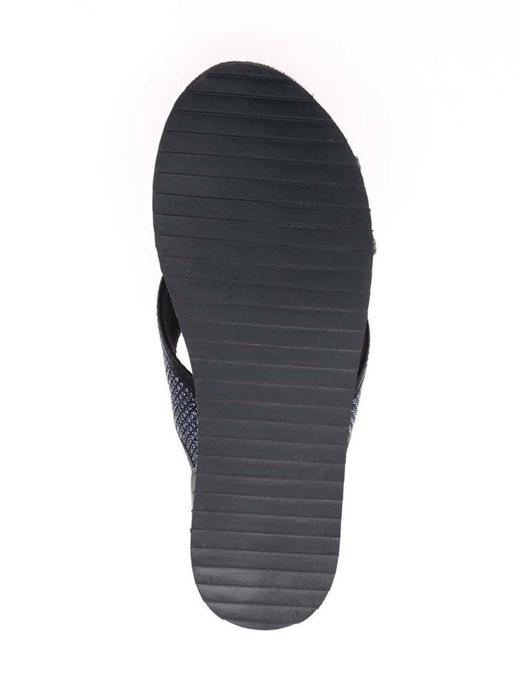 Černo-modré sandály s třpytivým efektem Tamaris