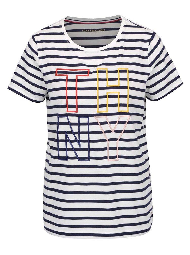 Bílo-modré dámské pruhované tričko s výšivkou Tommy Hilfiger
