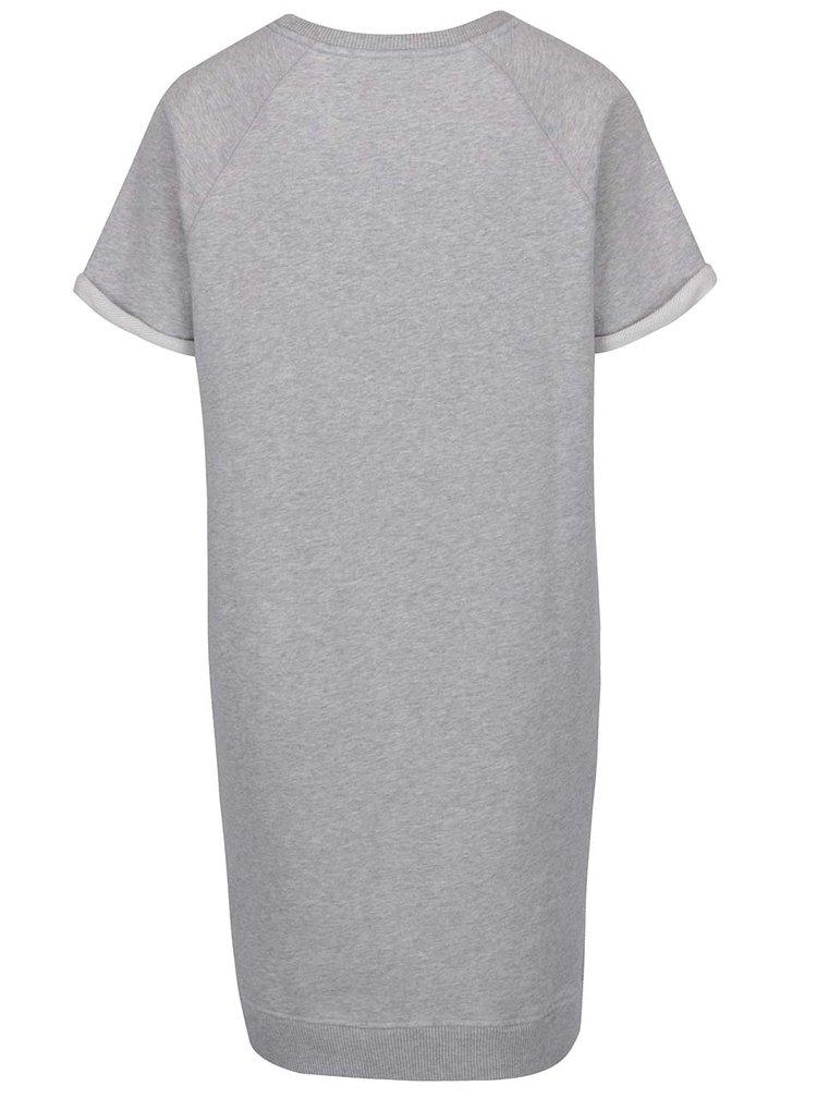 Světle šedé mikinové šaty s nášivkou Tommy Hilfiger