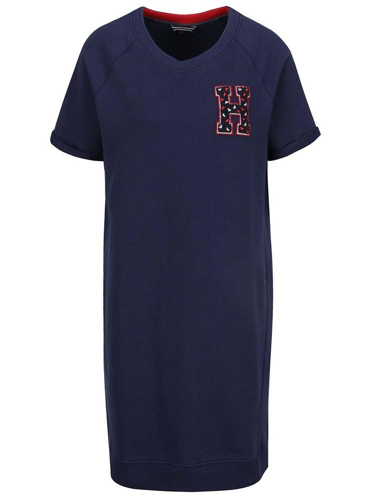 Tmavě modré mikinové šaty s nášivkou Tommy Hilfiger