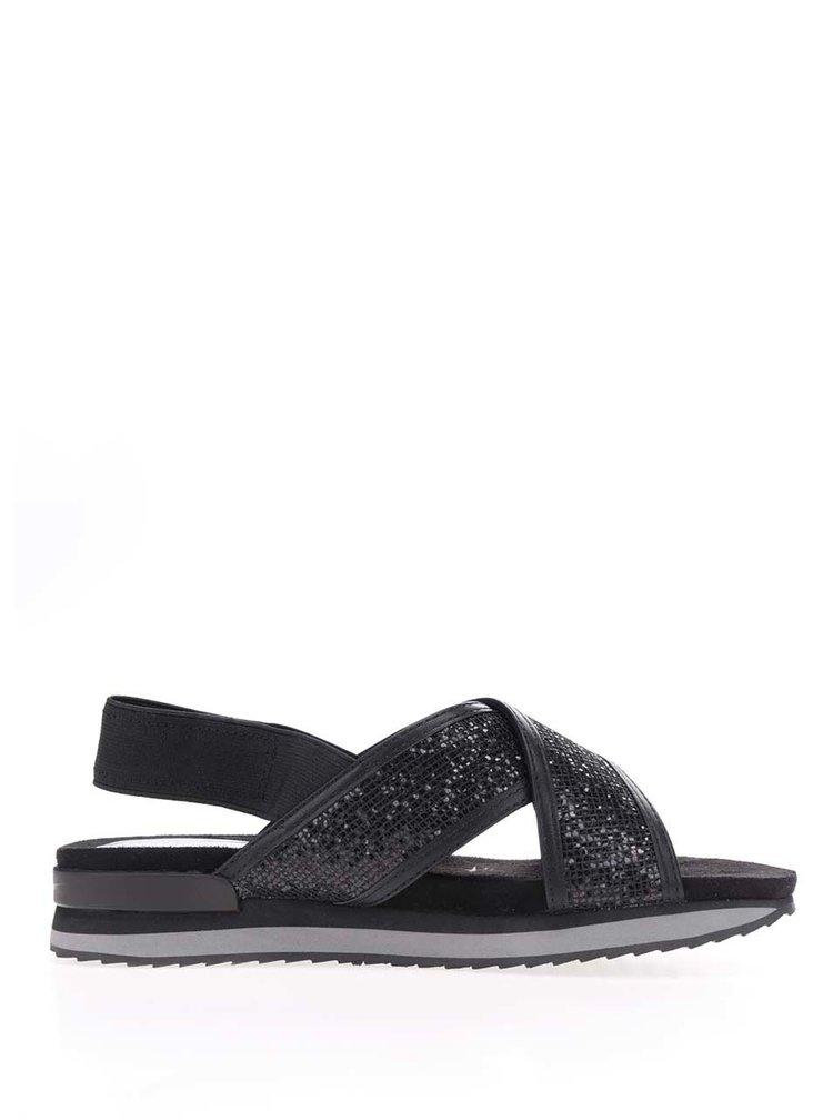 Černé sandály s třpytivým efektem Tamaris