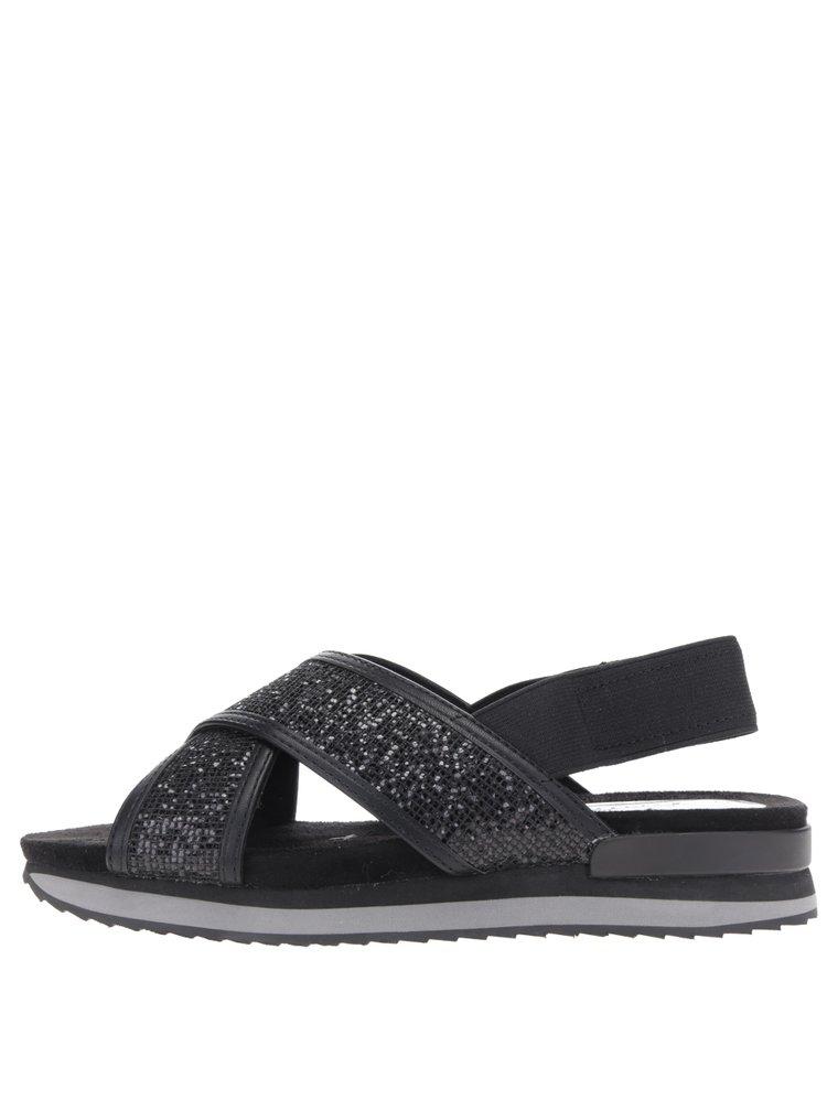 Sandale negre cu strasuri si platforma mica Tamaris