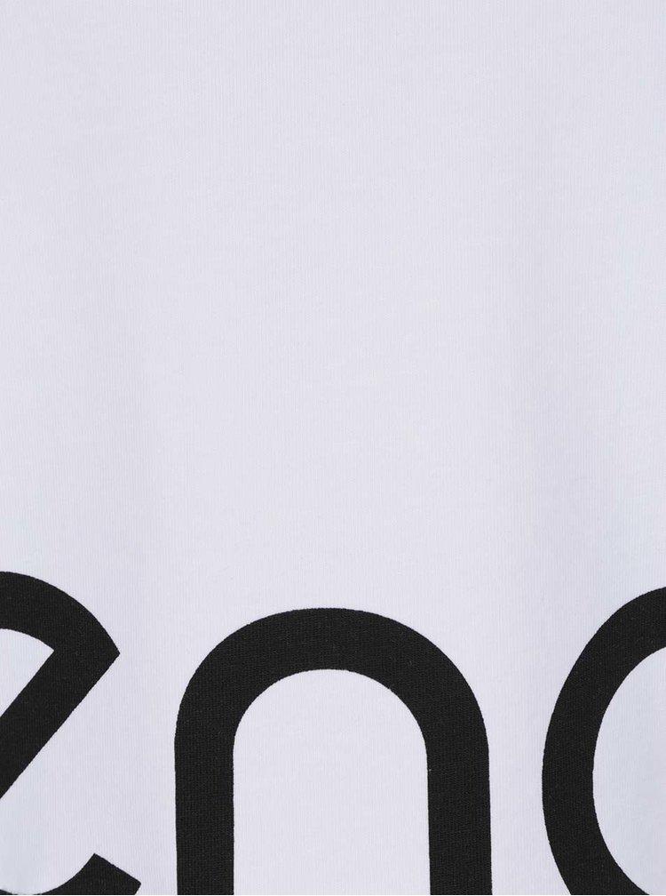 Bílé zkrácená tričko s krátkým rukávem a potiskem Denay