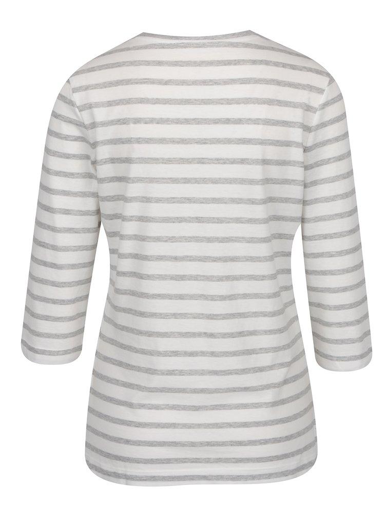 Světle šedé dámské pruhovné tričko s 3/4 rukávem Tommy Hilfiger