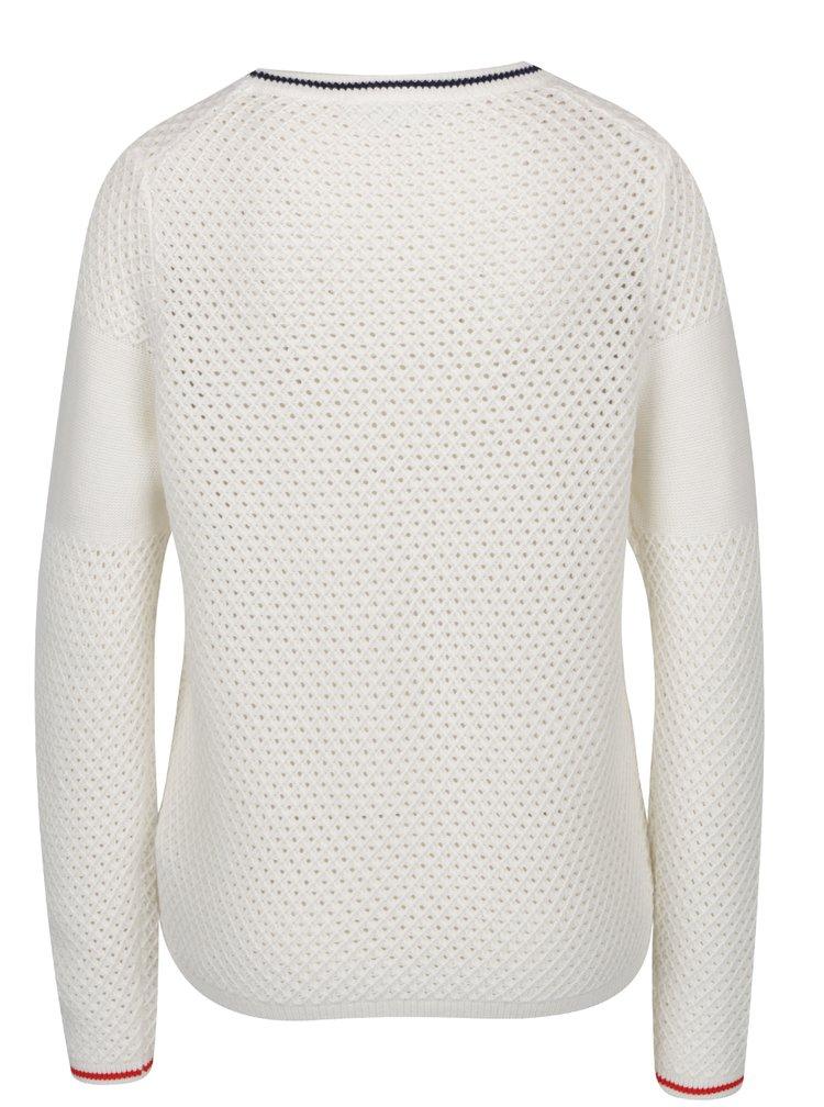 Krémový dámský vlněný svetr s výšivkou Tommy Hilfiger