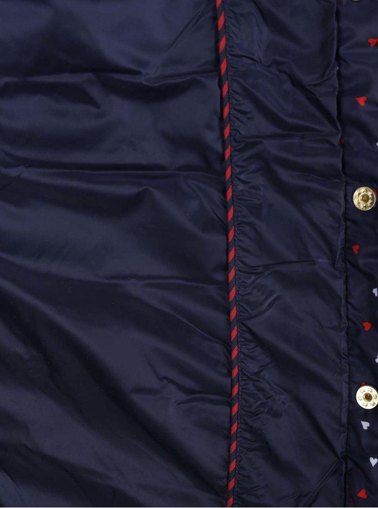 Tmavě modrá dámská vzorovaná prošívaná bunda Tommy Hilfiger