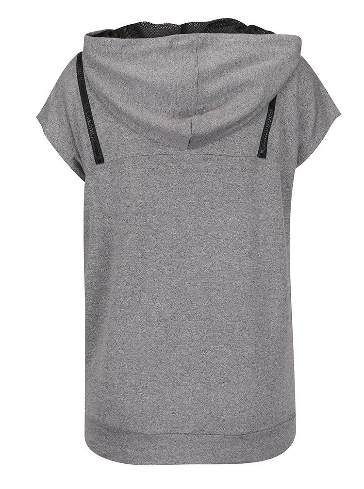 Šedé žíhané tričko s kapucí Denay