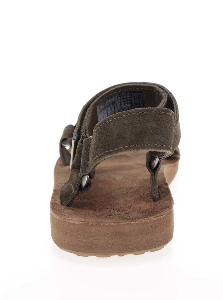 Zelené pánské kožené sandály Teva