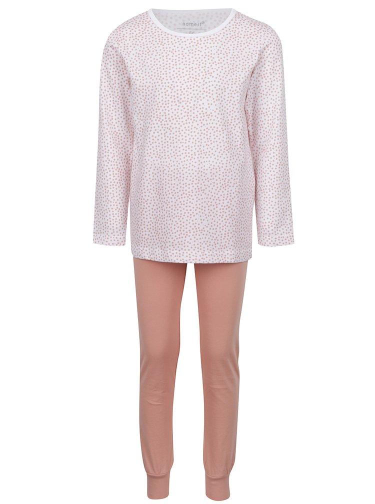 Oranžovo-bílé holčičí dvoudílné vzorované pyžamo name it Night