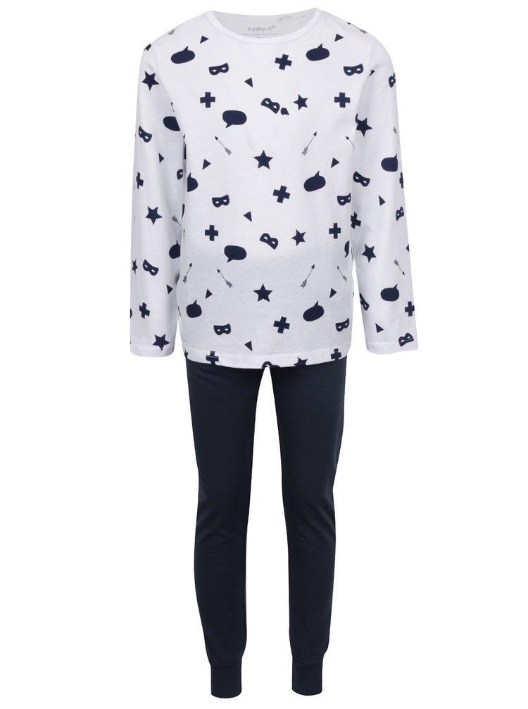 Bílo-modré klučičí dvoudílné vzorované pyžamo name it Night