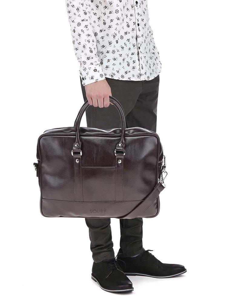 """Tmavě hnědá pánská taška na notebook Solier Torba 15"""""""