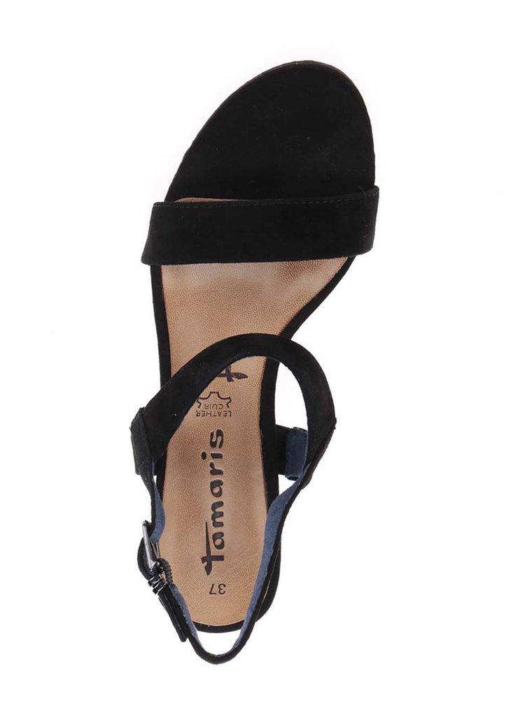 Černé páskové semišové sandálky na podpatku Tamaris